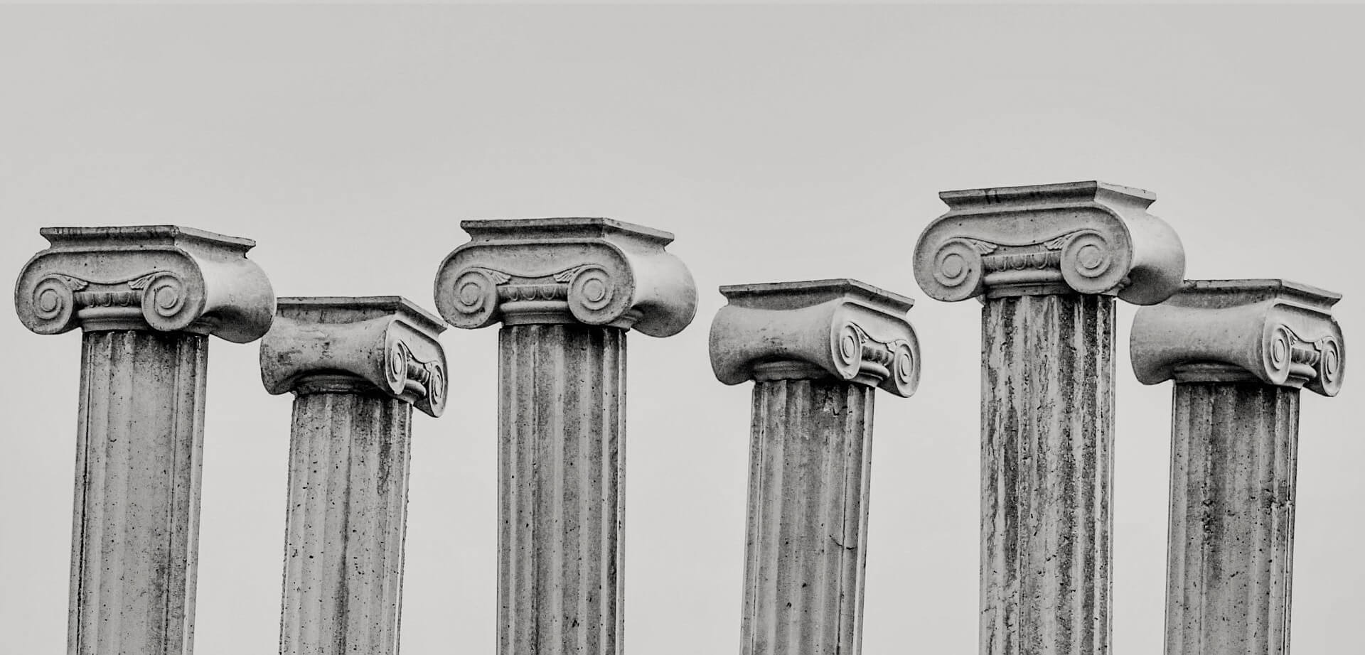 Six ionic pillars next to each other