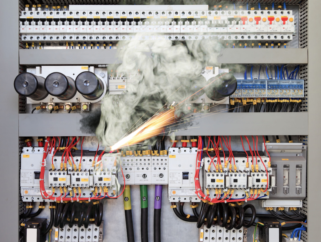 Circuit board catching on fire