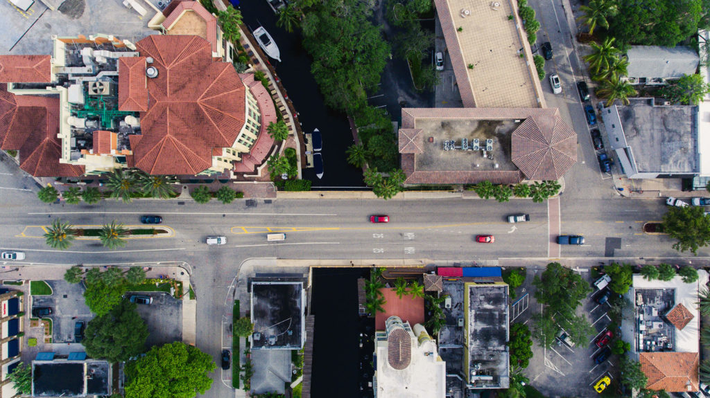 Aerial view of a street and buildings in Ft. Lauderdale