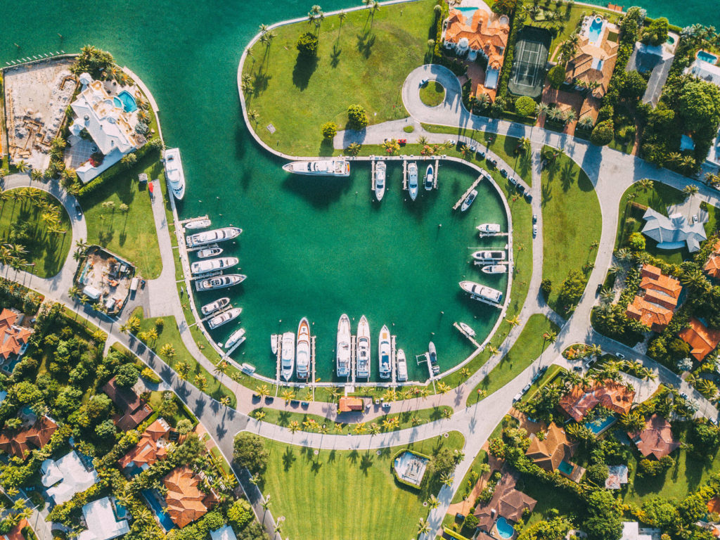 Bird's-eye view of Miami marina with docked boats