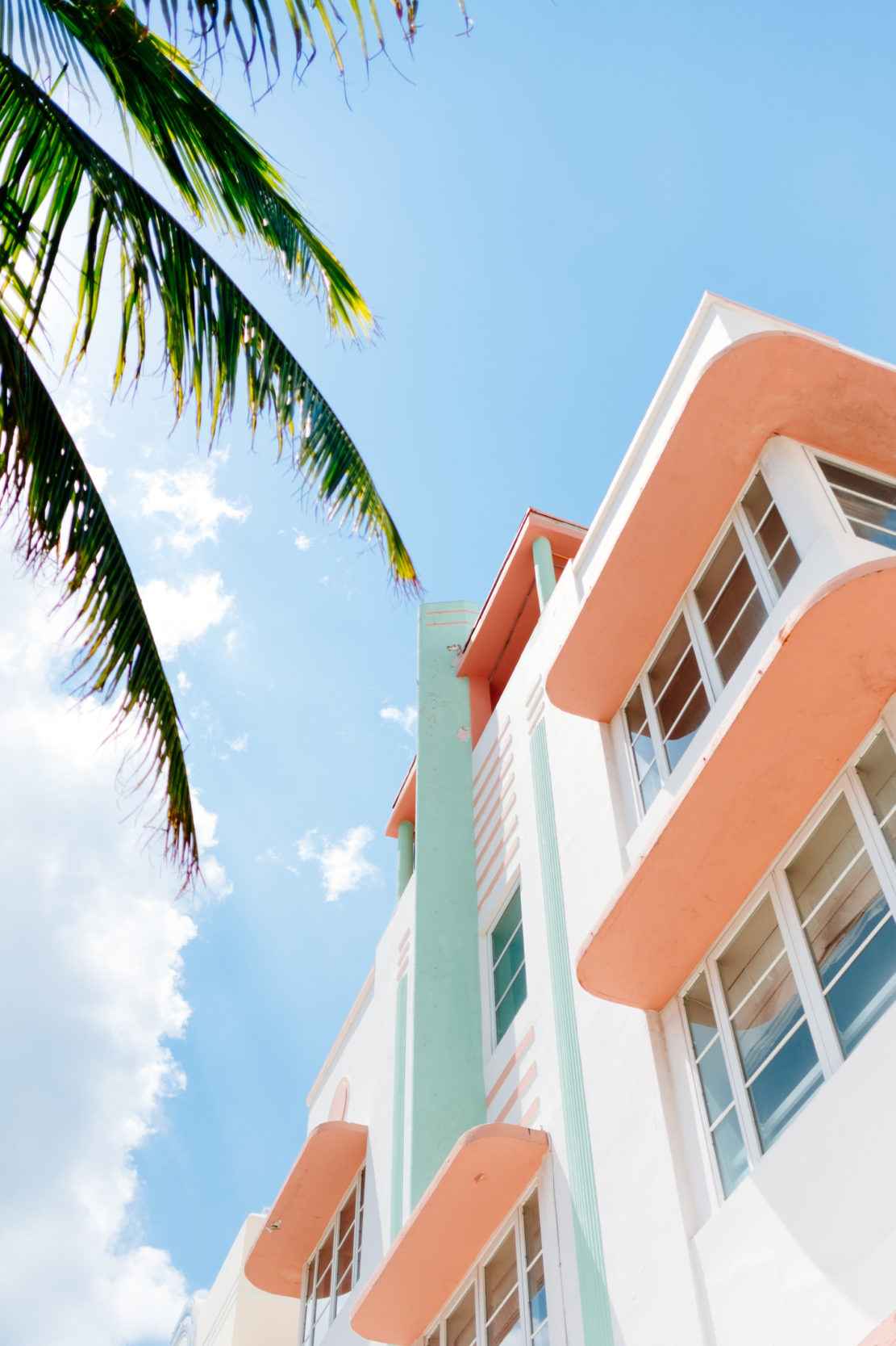 Coral, Mint Green and White Building Next to Palm Tree